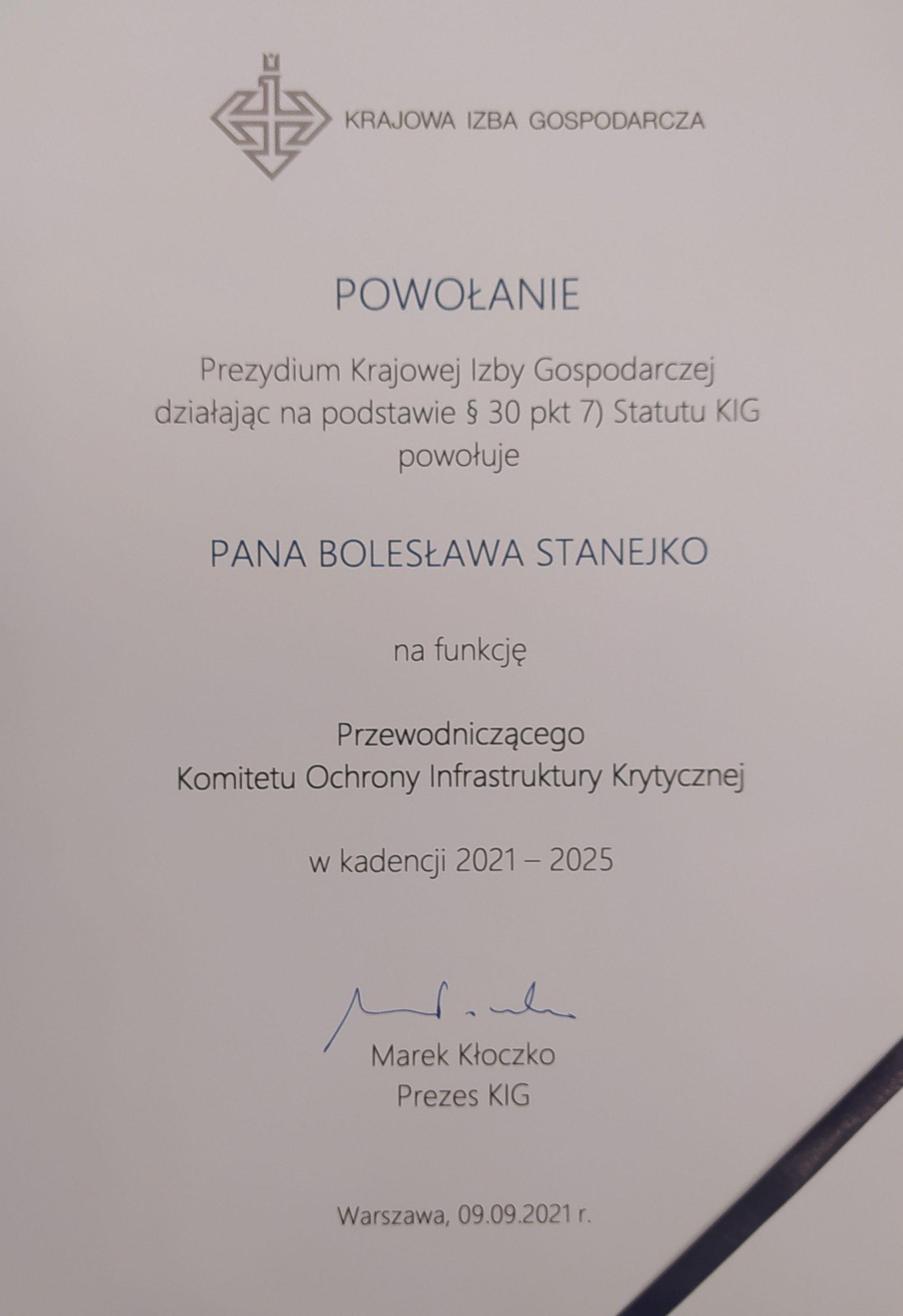 Członek Rady Programowej i wykładowca OS PISA przewodniczącym KOMITETU OCHRONY INFRASTRUKTURY KRYTYCZNEJ